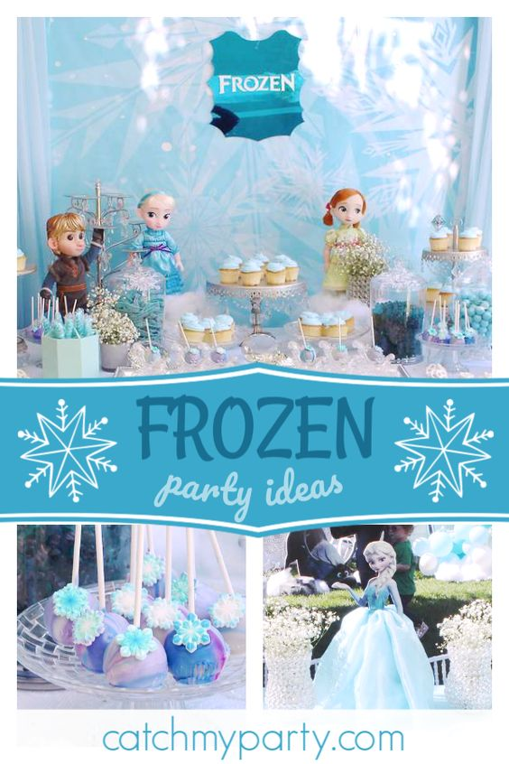 Collage of a Baby Doll Frozen Birthday Party