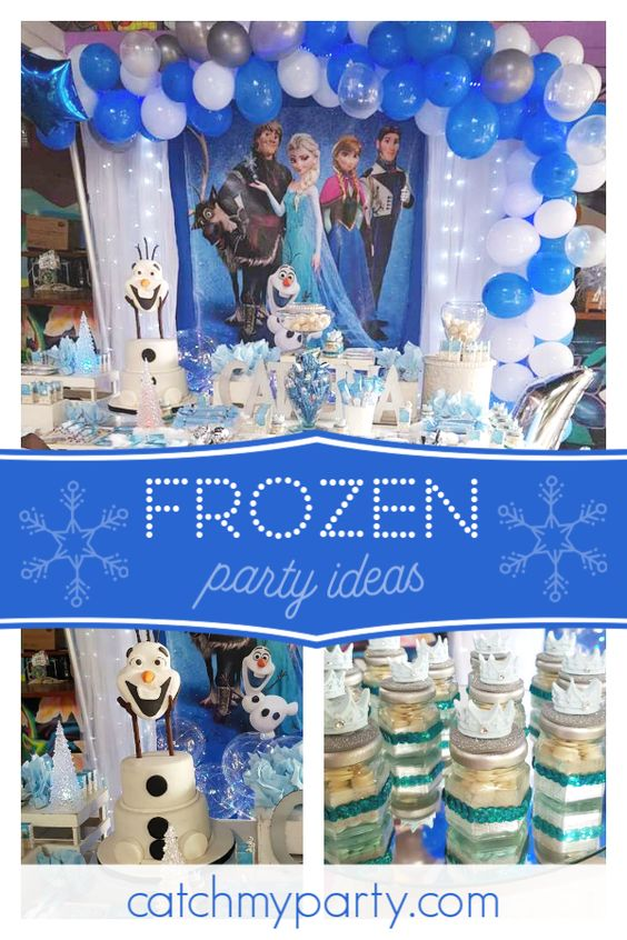 Collage of an Olaf Frozen Birthday Party