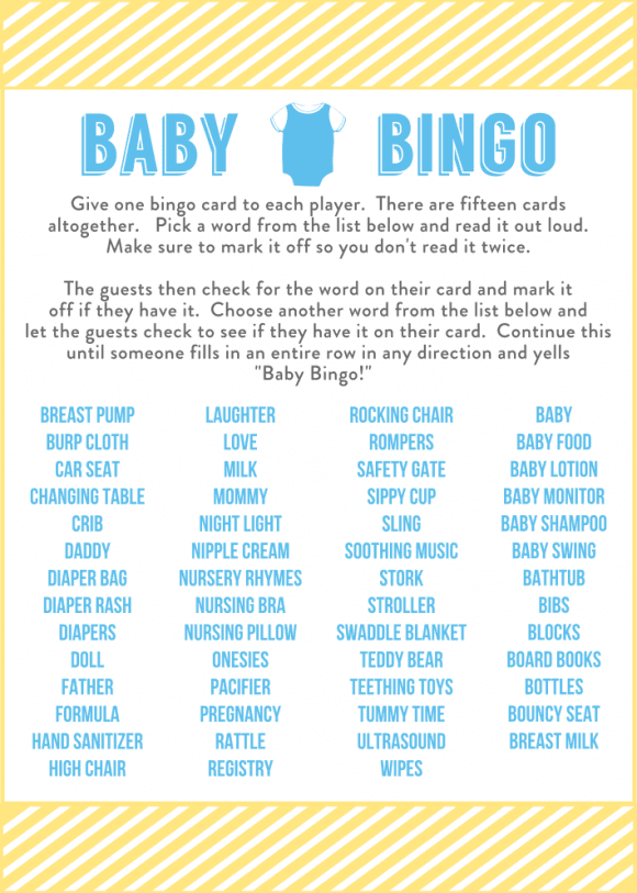 free baby shower bingo printable cards for a boy baby shower