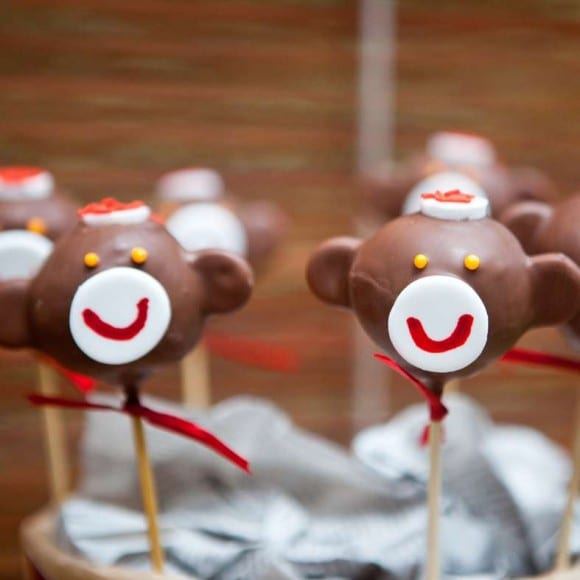 Sock monkey cake pops | CatchMyParty.com