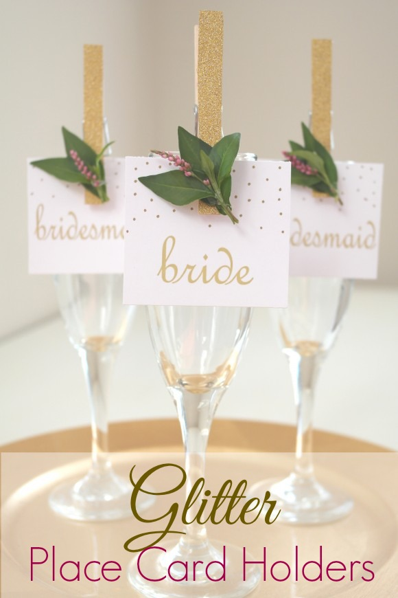 DIY Glittered Clothespin Place Card Holders | CatchMyParty.com