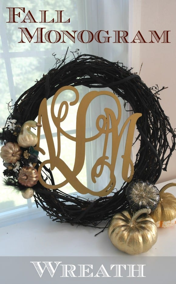 Fall Monogram Wreath DIY | CatchMyParty.com