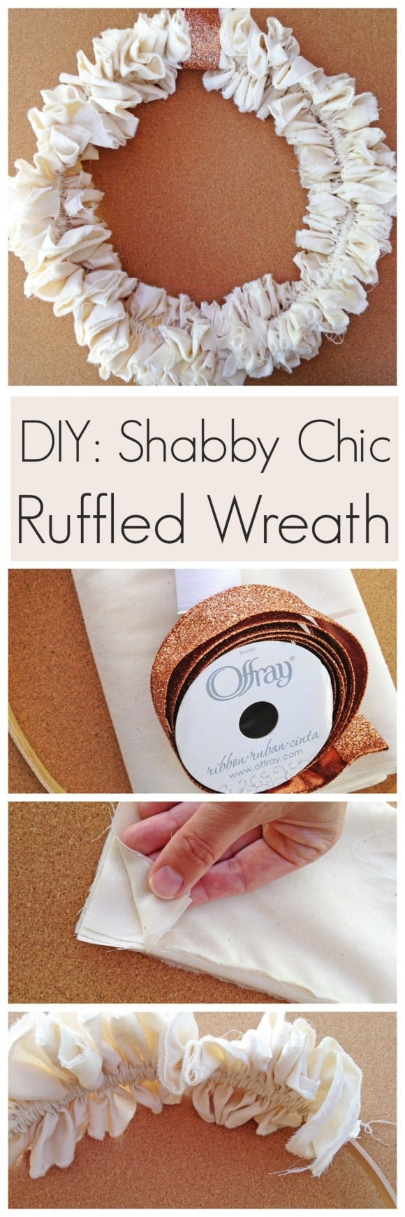 Shabby Chic Ruffled Wreath DIY | CatchMyParty.com