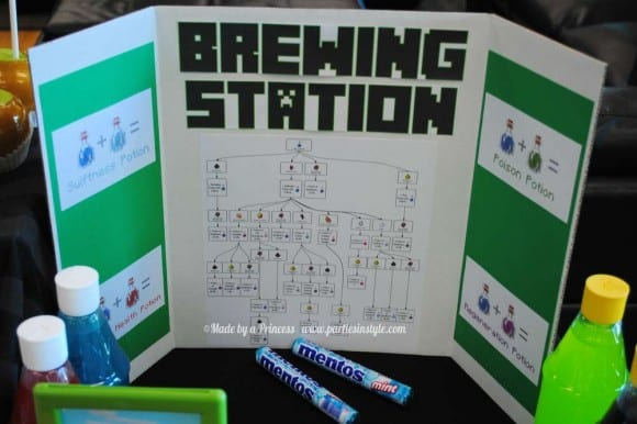 Minecraft Party Brewing Station| CatchMyParty.com