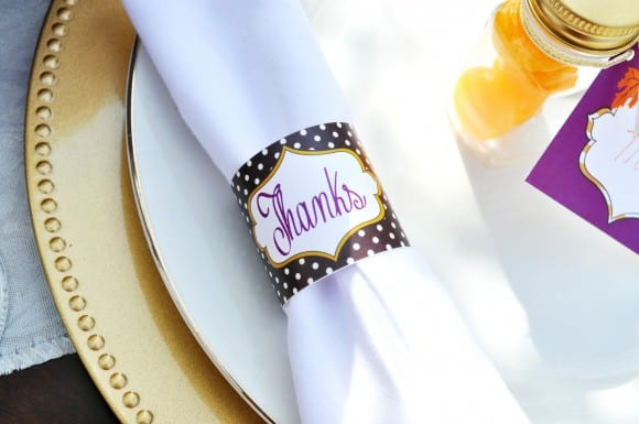 Free Thanksgiving Printable napkin rings | CatchMyParty.com