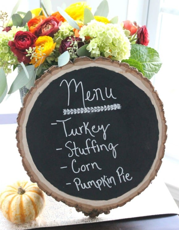Thanksgiving Chalkboard Menu DIY | CatchMyParty.com