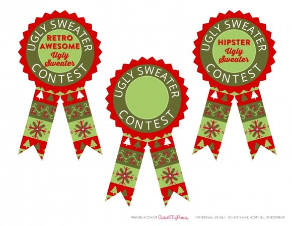 Free Ugly Sweater Party Printable Awards | CatchMyParty.com