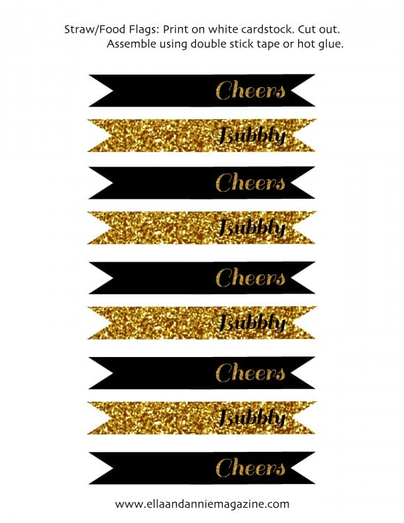 Free Printable New Year's Party Collection Straw Flags | CatchMyParty.com