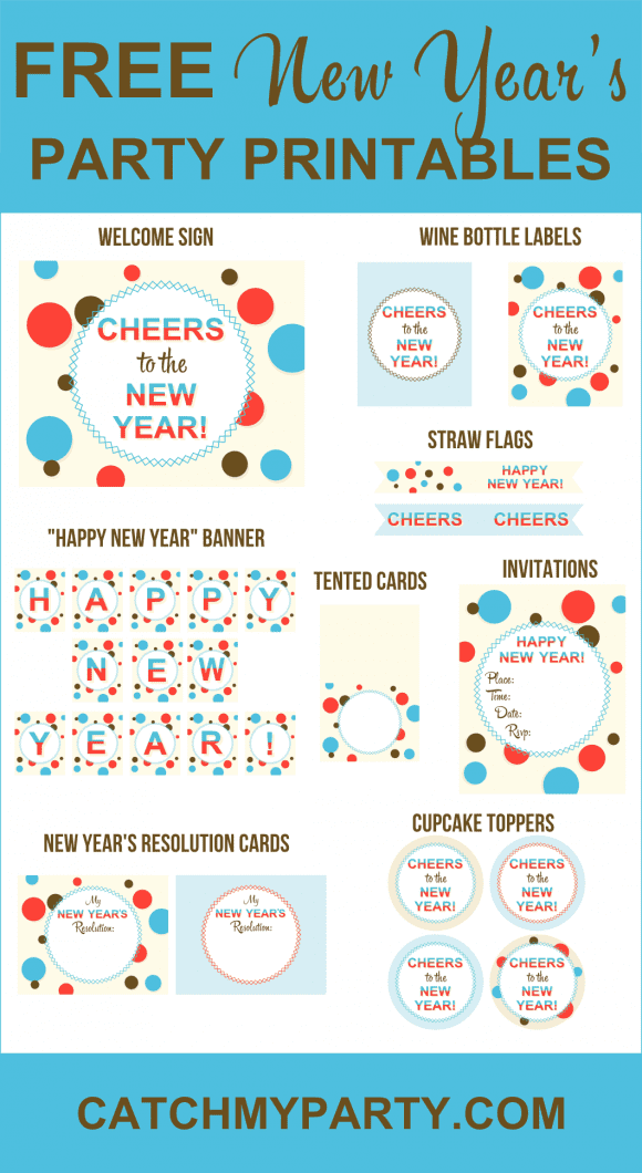 Free New Year's Party Printables | CatchMyParty.com