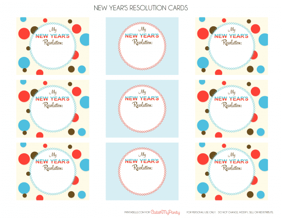 Free Printable New Year's Resolution Cards | CatchMyParty.com