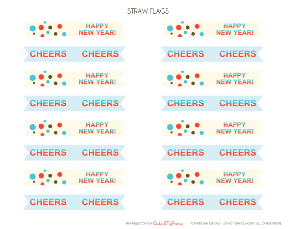 Free New Year's Printable Drink Flags | CatchMyParty.com