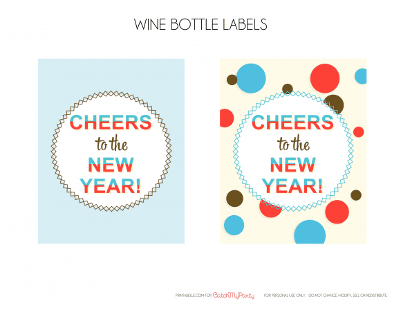 Free New Year's Printable Wine Labels | CatchMyParty.com