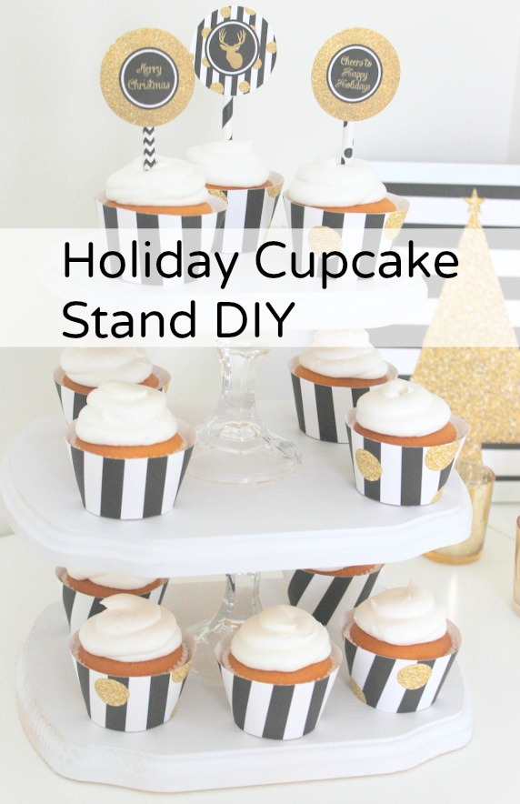 Check out this easy to make holiday cupcake stand DIY! See more crafts and DIYs at CatchMyParty.com!
