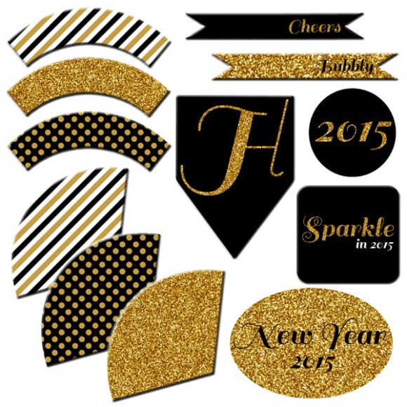 Free Printable New Year's Eve Party Collection Full Set | CatchMyParty.com