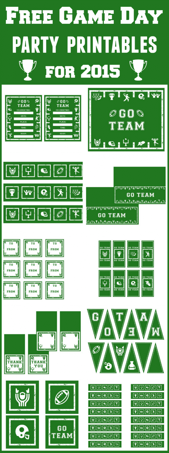 Free 2015 Game Day Party Printables Collage | CatchMyParty.com