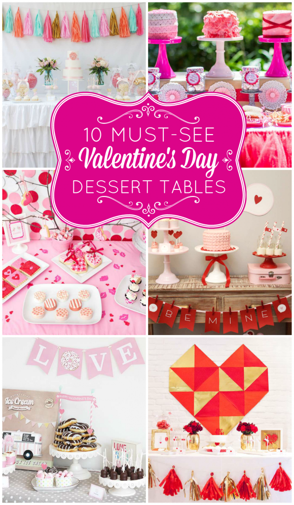 Collage of Valentine's Day Dessert Tables | CatchMyParty.com