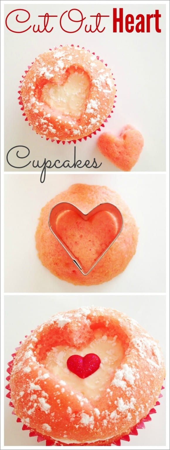 Cut Out Strawberry Heart Cupcake DIY | CatchMyParty.com