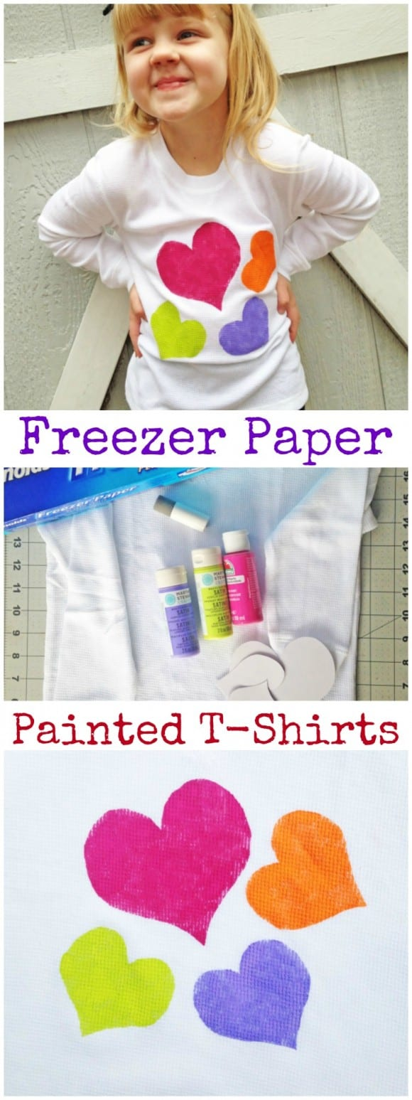 Learn to make these easy freezer paper painted t-shirts! See more craft and DIY ideas at CatchMyParty.com.