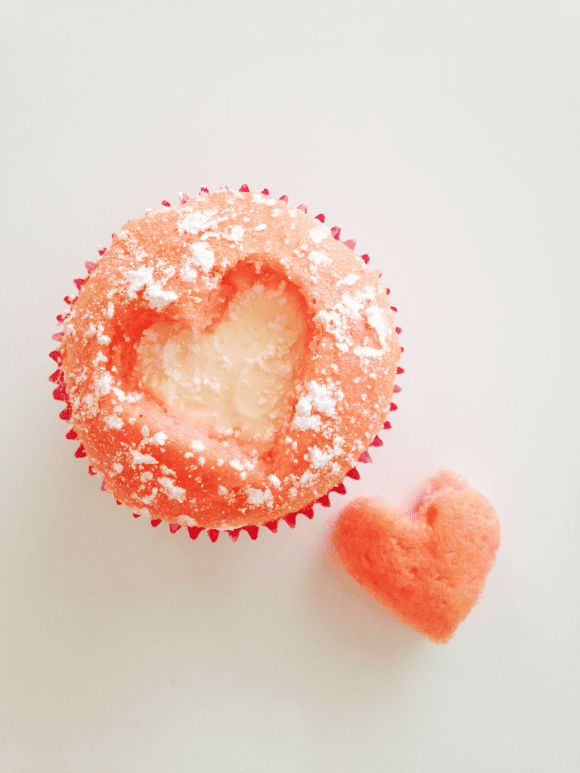 Cut Out Strawberry Heart Cupcakes | CatchMyParty.com