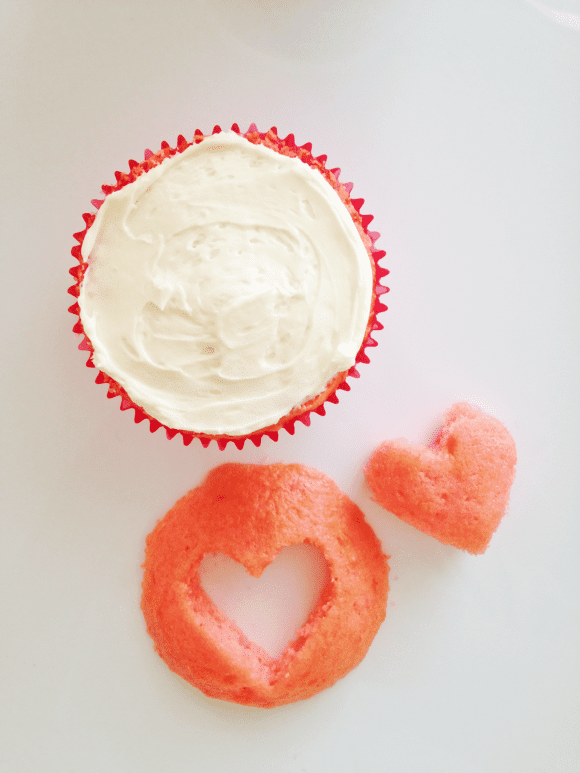 Cut out for Heart Cupcakes | CatchMyParty.com