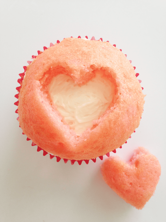 Strawberry Heart Cupcakes | CatchMyParty.com