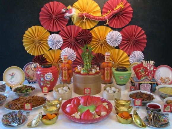 chinese new year food table catchmypartycom