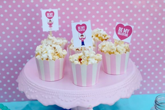 Popcorn cups at a Valentine's Day Party | CatchMyParty.com