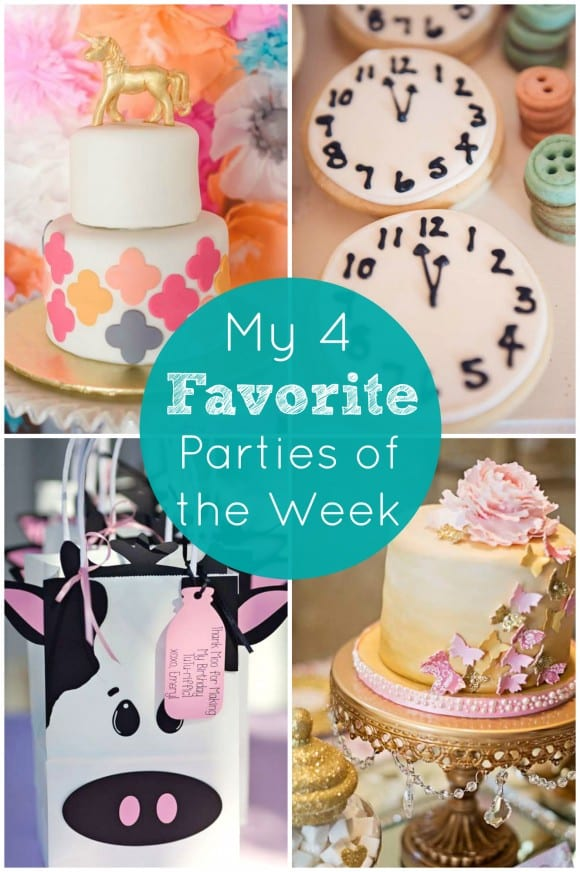 My 4 favorite parties from CatchMyParty.com including a unicorn baby shower, a Cinderella party, a cows and tutus party, and a Valentine's Day party!