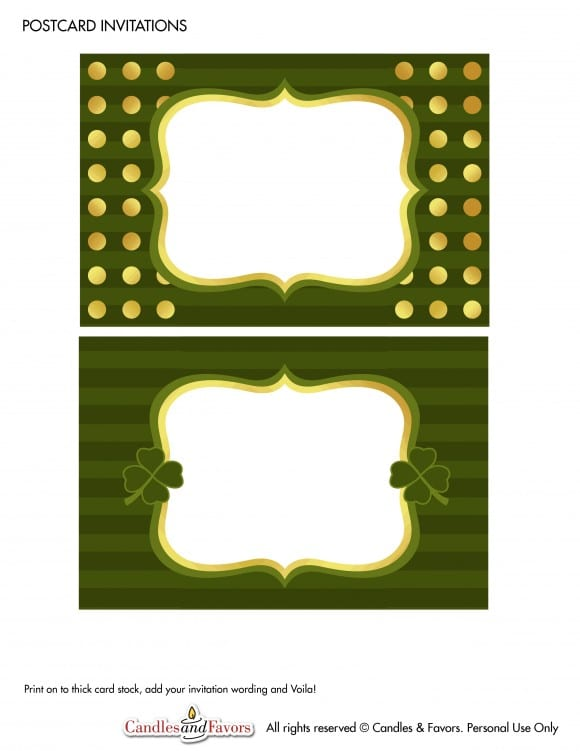 Free Tented Cards St. Patrick's Day Party Printables | CatchMyParty.com