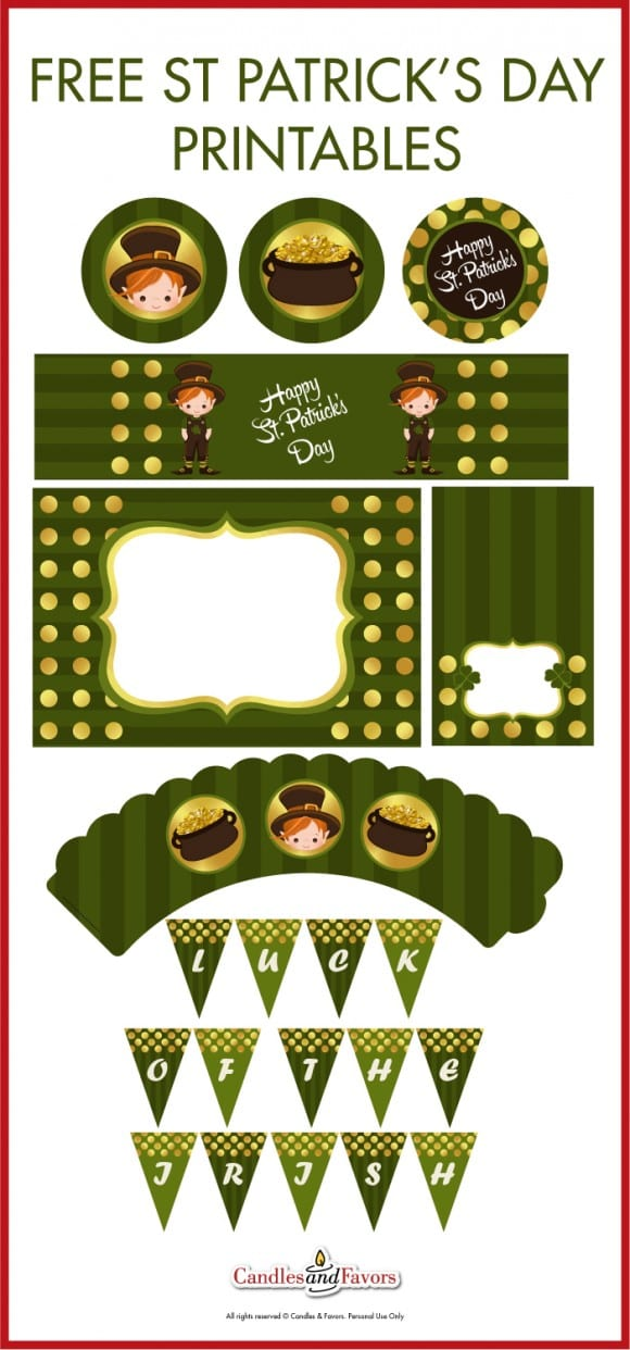 Free St. Patrick's Day party printables with a cute little leprechaun! | CatchMyParty.com