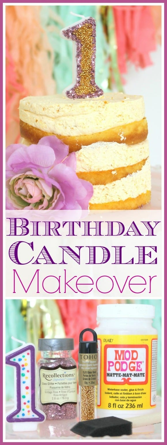 Birthday candle craft using glitter and glass beads. Easy way to makeover a candle! | CatchMyParty.com