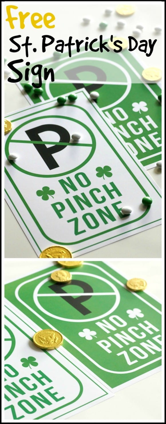 Free printable St. Patrick's Day no pinch signs | CatchMyParty.com