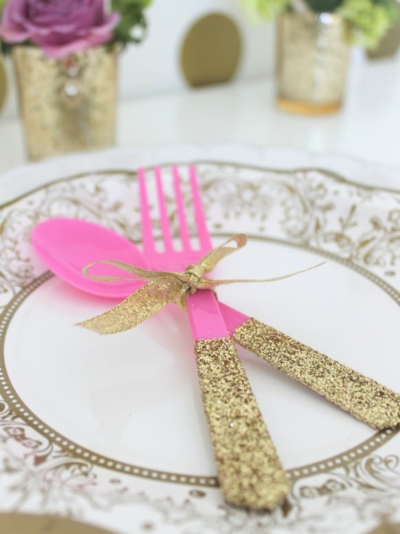 Glitter Utensil DIY | CatchMyParty.com
