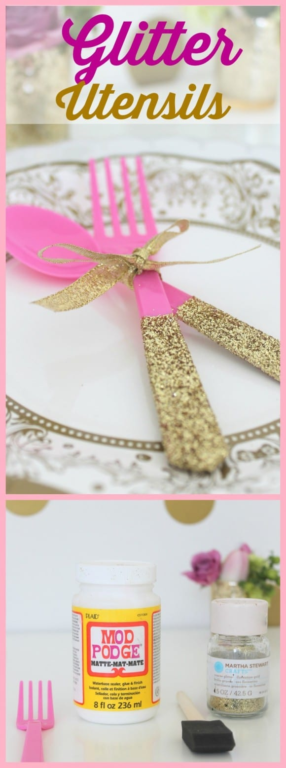 Use this glitter party utensil DIY for your next party! CatchMyParty.com