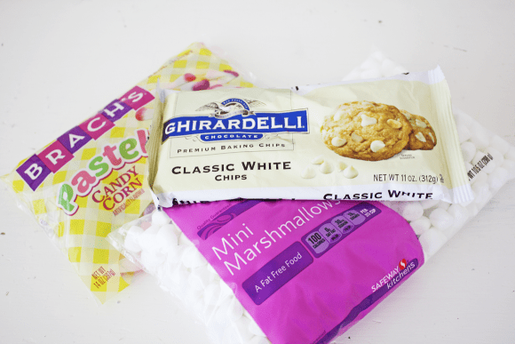 Ingredients for white chocolate marshmallow bark | CatchMyParty.com