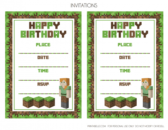 MinecraftinvitationsAlex | CatchMyParty.com