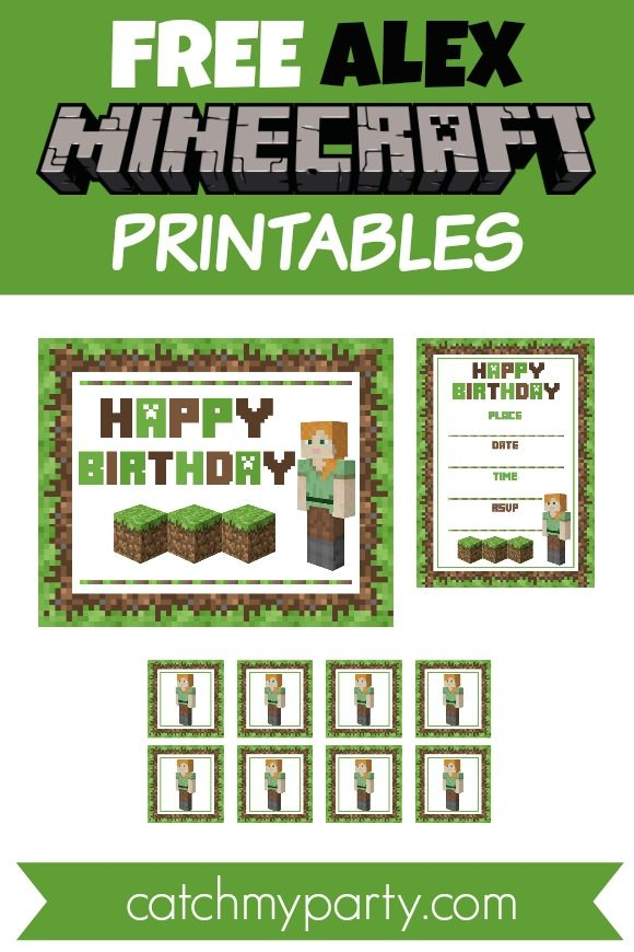 Free Awesome Alex Minecraft Printables for girls | CatchMyParty.com