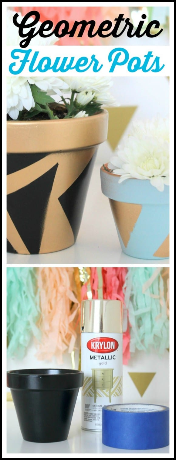 Geometric Painted Flower Pot DIY | CatchMyParty.com
