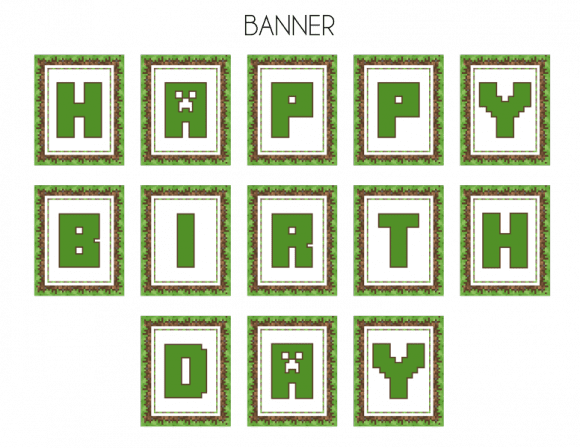 Free printable Minecraft bithday banner | CatchMyParty.com