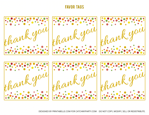 Free Gold and Polka Dot Birthday Printable Favor Tags