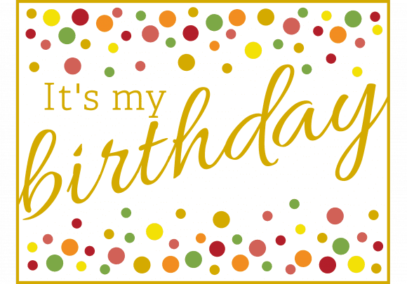 Free Gold Polka Dot Party Printables 'It's My Birthday' sign