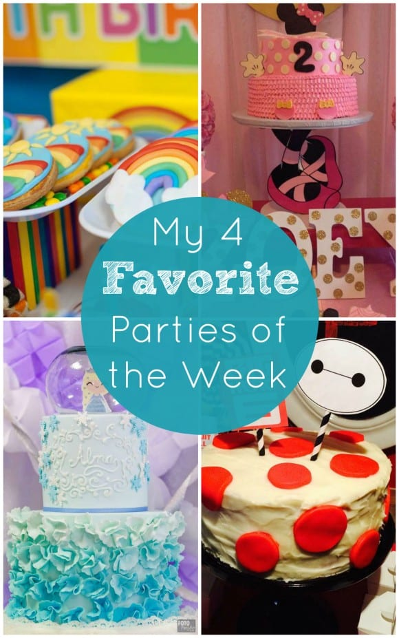 Rainbow dessert table, Despicable Me, Frozen, and Minnie Mouse | CatchMyParty.com