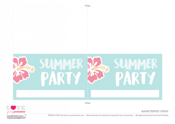 Blank tented cards Summer Party Printables | CatchMyParty.com