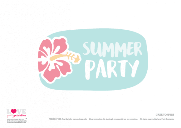 Cake toppers Summer Party Printables | CatchMyParty.com