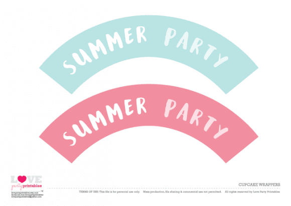 Cupcake wrapper Summer Party Printables | CatchMyParty.com