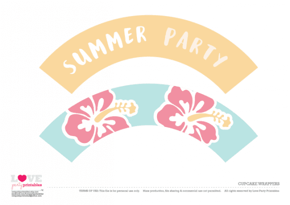 Cupcake wrappers Summer Party Printables | CatchMyParty.com
