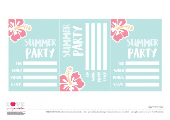 Free Summer Party Printables - Invitations | CatchMyParty.com