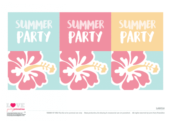 Labels Summer Party Printables | CatchMyParty.com