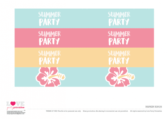 Napkin rings Summer Party Printables | CatchMyParty.com