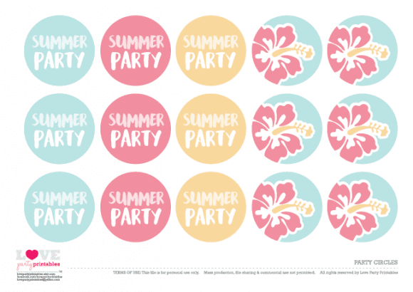 Free Hawaiian Summer Party Printables - party circles | CatchMyParty.com